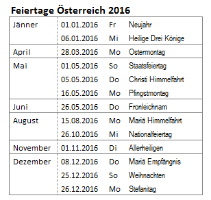 공지사항 2016 오스트리아 휴일 Feiertage österreich 2016